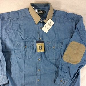 VTG DEADSTOCK Woolrich Mens Blue Denim Shirt